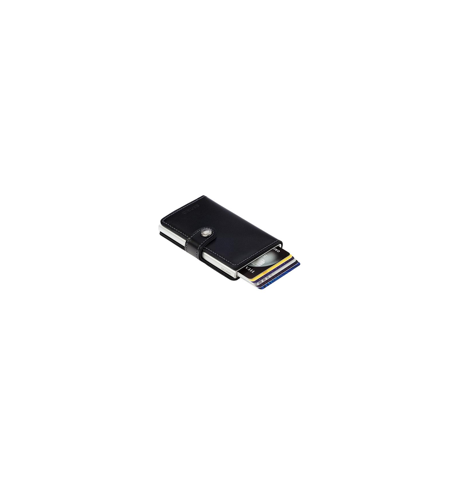Secrid Porte-cartes en aluminium et cuir Miniwallet Noir M5NzQa