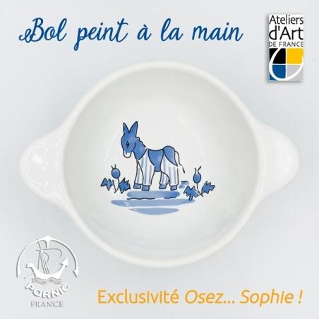 Bol personnalisé faïencerie de Pornic peint à la main souvenir île de Ré  motif âne bleu