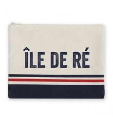 pochette tricolore bleu blanc rouge signature île de ré 100% coton