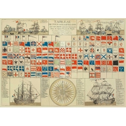 Set de table Pavillons marine souvenirs Île de Ré - Création française - Fabriqué en Europe