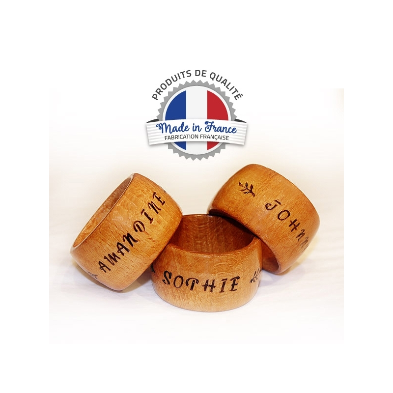 Rond de serviette bois avec prénom personnalisable made in France