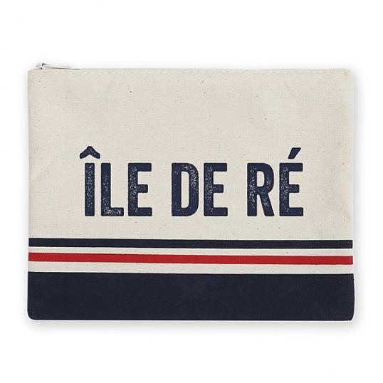 pochette plage Île de ré bleu blanc rouge fabrication française