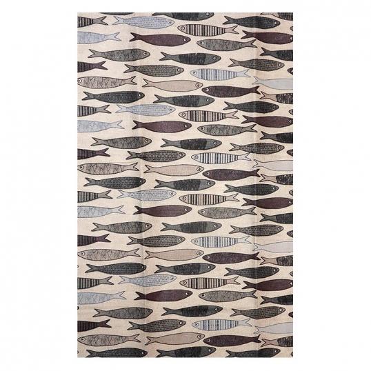 Torchon coton lin motif banc de sardines coloris gris