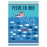 Torchon cuisine thème bateau de pêche en mer filet de poisson