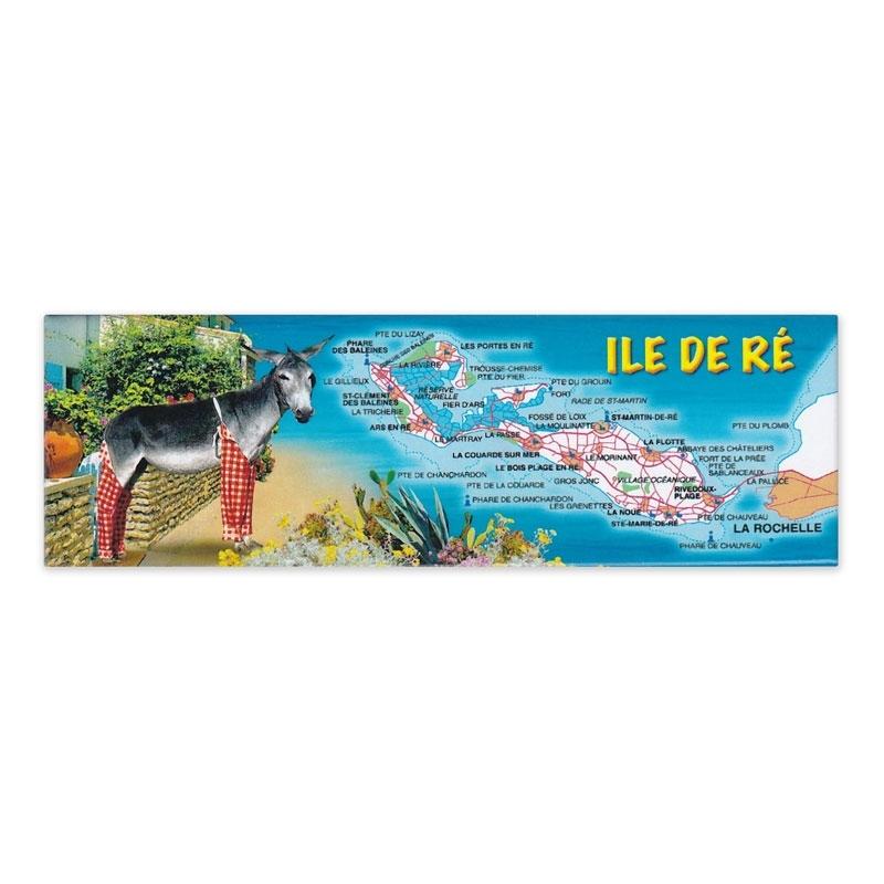 Magnet composée Âne culotte bleue carte l'Île de Ré panoramique