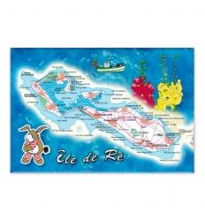 Magnet composée carte l'Île de Ré mer bleue âne culotte rouge
